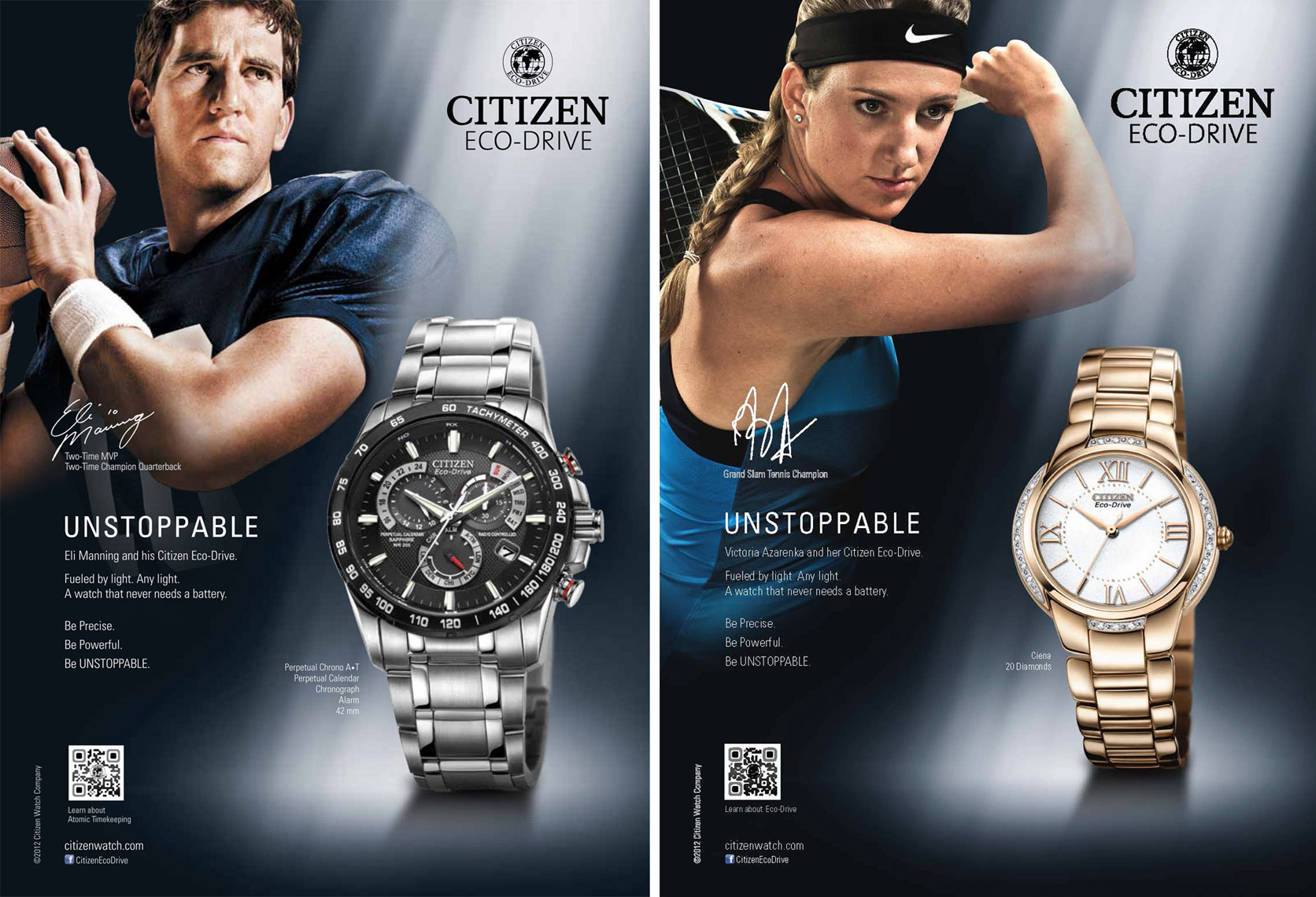 Advertising watch photography  - Citizen Unstoppable Ad Campaign Eli Manning & Victoria Azarenka