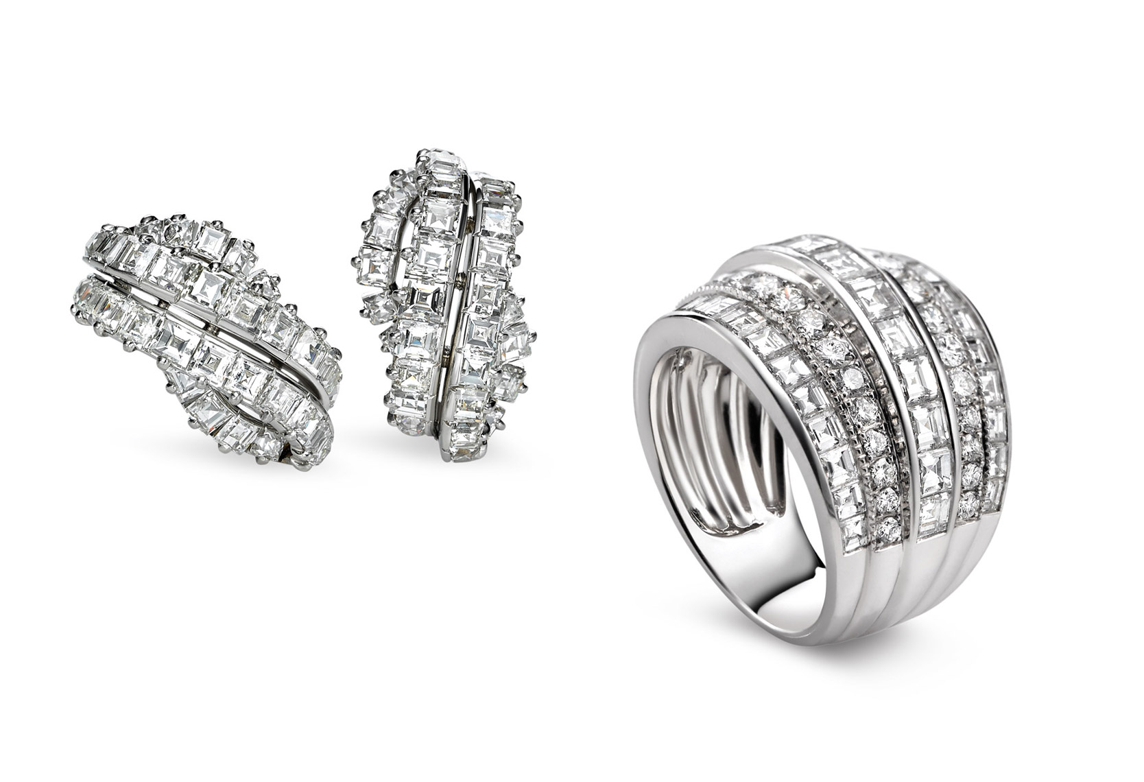 jewelry product photography - diamond earrings and ring -
