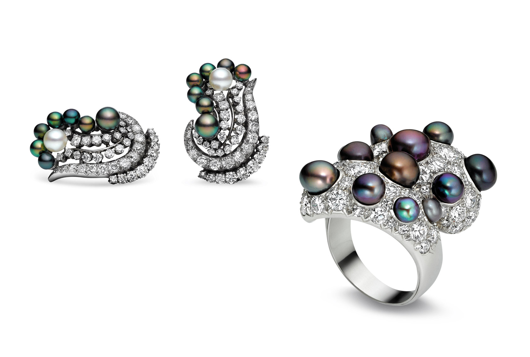 Estate Jewelry Photography NYC - Pearl & Diamond Ring & Earring Suite