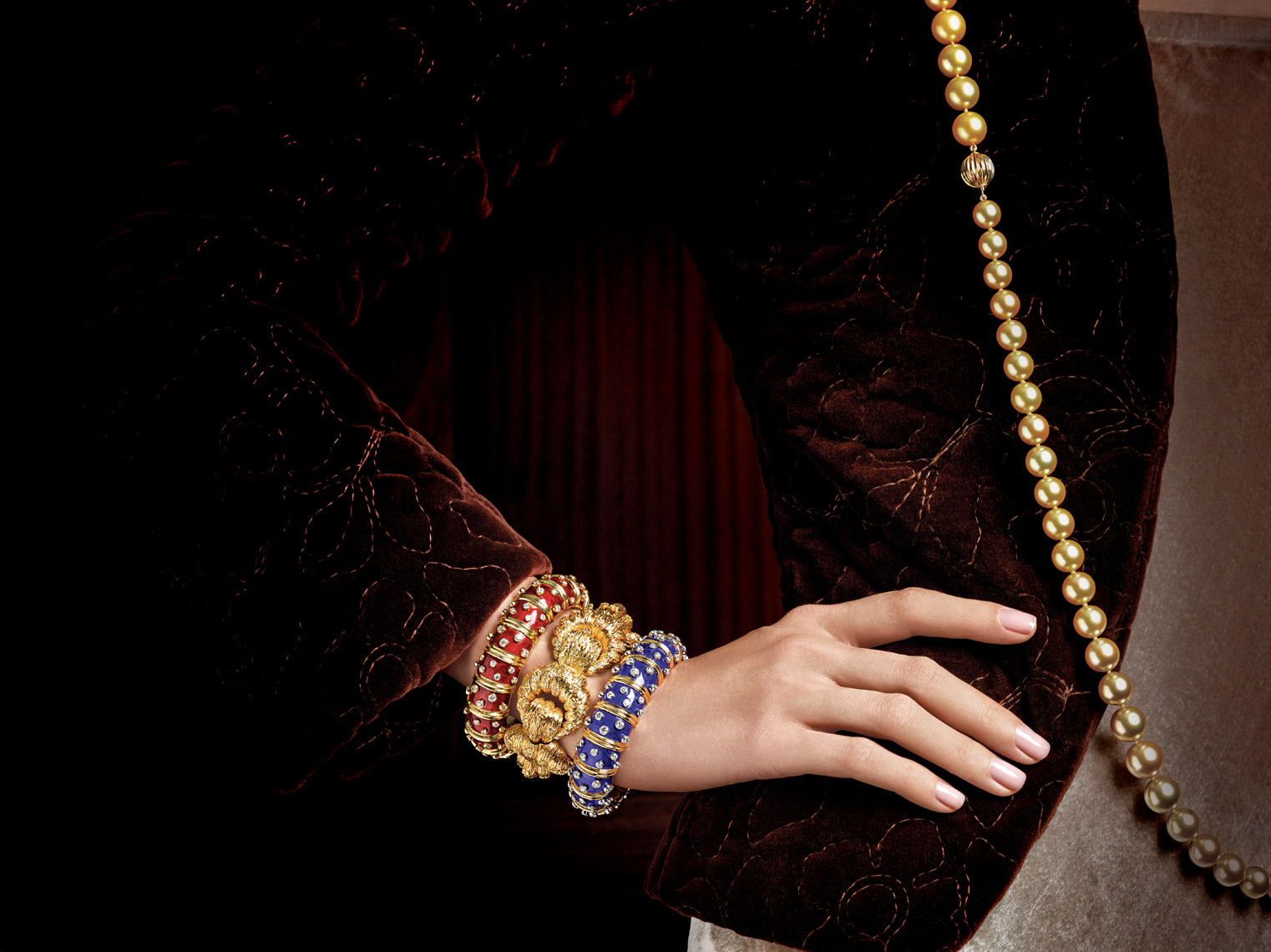 Jewelry Photography on Model - Macklowe Yellow Gold  Bracelet and Pearls