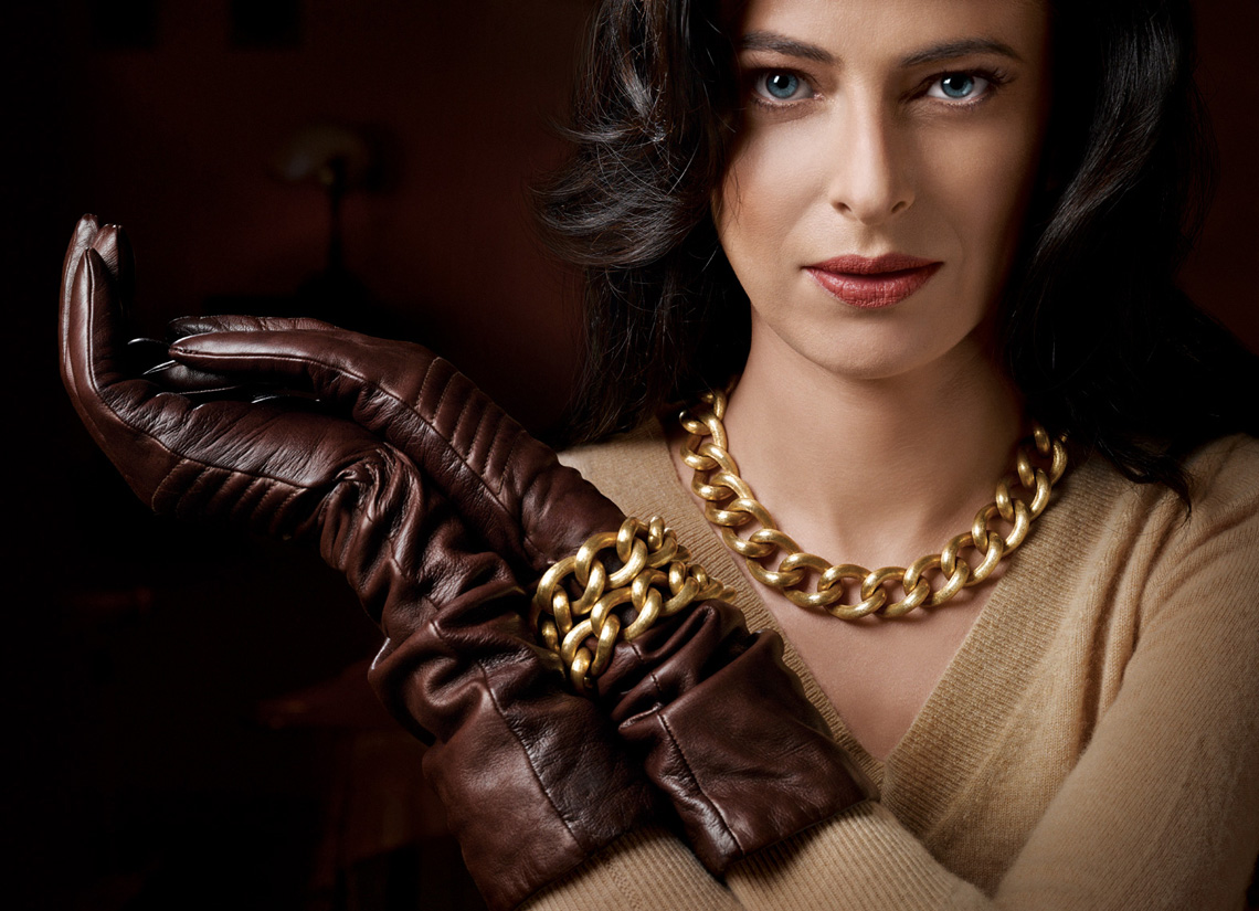 Jewelry Photographer NYC - Florentine Gold Necklace & Bracelets on Model