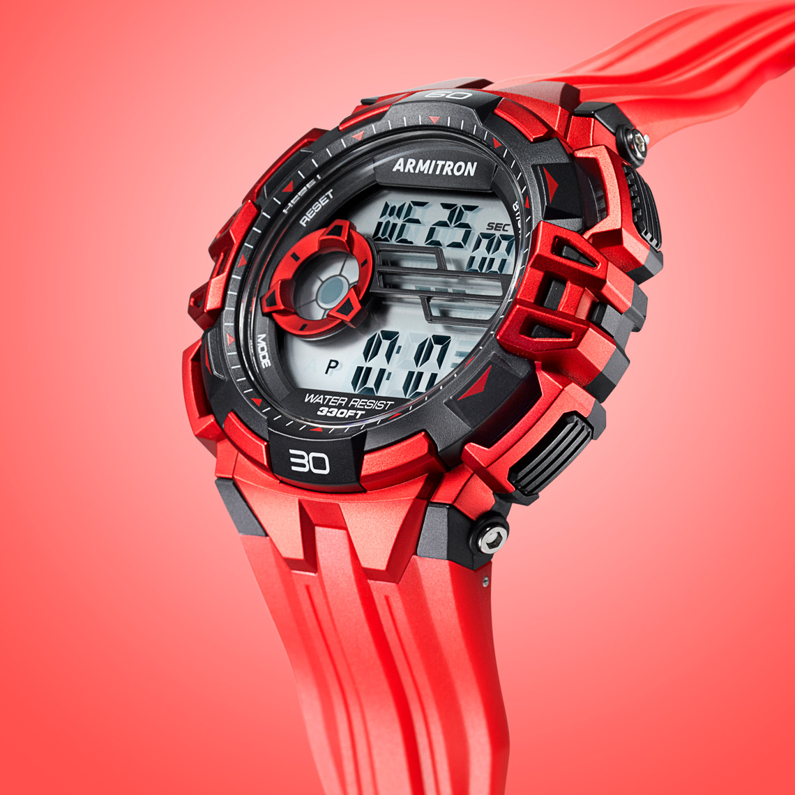 product watch photography - Armitron digital red on red