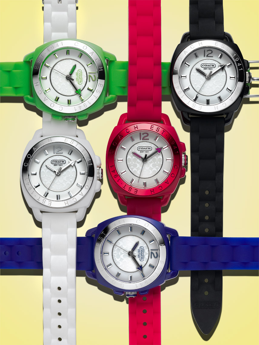 Watch photography - Coach fashion watches colorful rubber bands overlapping - watch photographer Kliton Ceku